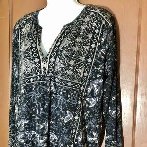 Lucky Brand Boho smock neck long sleeve top Size M